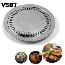Non-Stick Barbecue Pan Tray Korean Style Griddle Household Kitchen Outdoor BBQ Cooking Tools Utensils Round Roasting Pan