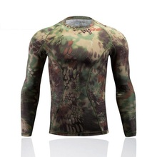 2017 New Camouflage T-shirt Men Breathable Army Tactical Combat T Shirt Military Tight fighting clothes Dry Camo Camp  Green