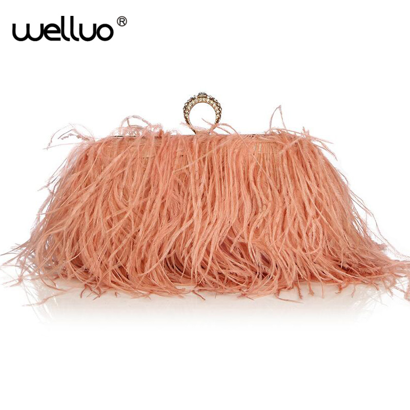 Designer Satin Ostrich Fur Feather Clutch Famous Brand Women Clutch Knuckle Rings Dinner Evening Bag Chain Purse Handbags XA567B<br>