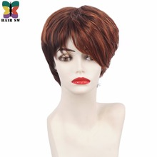 HAIR SW Short Pixie Cut Copper Red Highlighted Medium Auburn Synthetic Wig With Bangs For Afro Women(China)