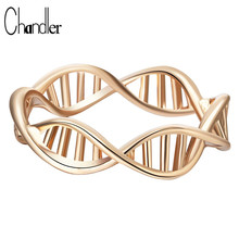 Chandler Sliver Gold Color Science DNA Shape Rings For Women Chemistry Molecule Statement Jewelry Maxi Accessaries Anillos Anel
