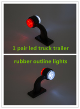 1pair 2'' 10-30V LED rubber stalk lightbar marker Lights outline lamps Indicator lights external lights Trailer Truck Lorry Bus
