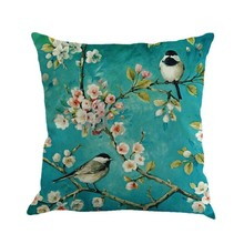 New Arrival European Garden Blue Painting Flower And Bird Cherry Printing Linen Decorative Throw Pillow Cushion For Office Chair