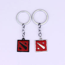 Two Colors Hot Game Dota 2 Keychain for Game Fans High Quality Metal Red Enamel Key Finder Key Ring Fashion Jewelry Chaveiros(China)