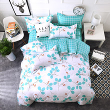 Leaf plaid white green Bedding Sets twin full Queen Size Good quality Cotton polyester Duvet Cover Bedsheet Pillowcase Bedlinen