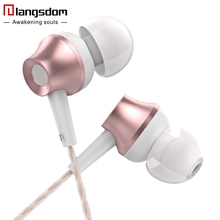 Langsdom M299 Rose Gold Earphones Super Bass Metal Earphone with Microphone&Remote Earbuds for Phone xiaomi 3.5mm Original Brand