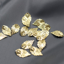 Copper leaves beads Accessories wholesale leaf pendants Gold Color Plated Tree leaf connectors for jewelry making 18*10mm 50 pcs(China)