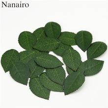 100 pieces/lot Cheap High Quality Green Artificial Plastic Silk Leaf flowers Fake Leaves For Bouquet Garland Wedding decoration(China)