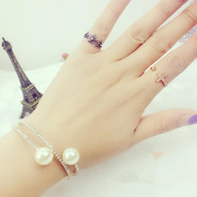 3 Layer Rhinestones Perfect Simulated Pearl Bangles Bracelets Jewelry Women Bridal Wedding Party Accessories 2C0030