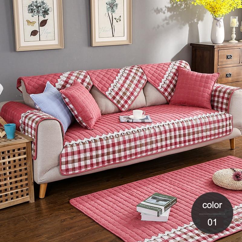 100% Cotton Sofa Cover Pastoral Plaid Sofa Covers Fabric funda sofa ...