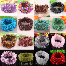 19 Kinds of Stone Green Howlite Stone Garnet Coral Opal Chip Beads Stretch Bracelet Bangle(China)