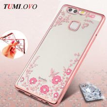 Clear Case Cover for Huawei P8 P9 Lite 2017 P10 Lite Y5 Y6 II Mini for Honor 4C pro Flora Diamond Soft Cases for Honor 6C Fundas