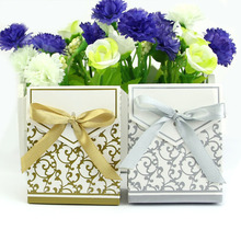 Big Sale 50pcs Lovely Engagement Anniversary Wedding Party Cake Favour Favor Gift Boxes For Beauty Tool(China)