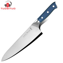 TUOBITUO 8inch Japanese Professional Chef Knife Blade Imported Stainless Steel 440A Blue Handle Kitchen Tool Master Recommend(China)