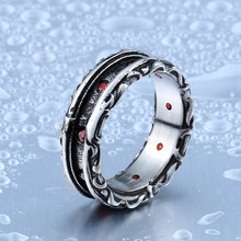 Beier New Designed Cool Retro Gothic Ring With Red Stone Stainless Steel High Quality Man's Jewelry Aliexpress Wholesale BR8-321