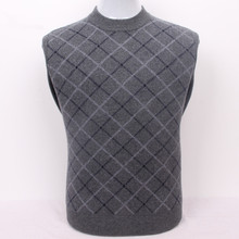 100%goat cashmere men's boutique plaid thick pullover sweater semi-high collar grey 2color S/105-3XL/130(China)