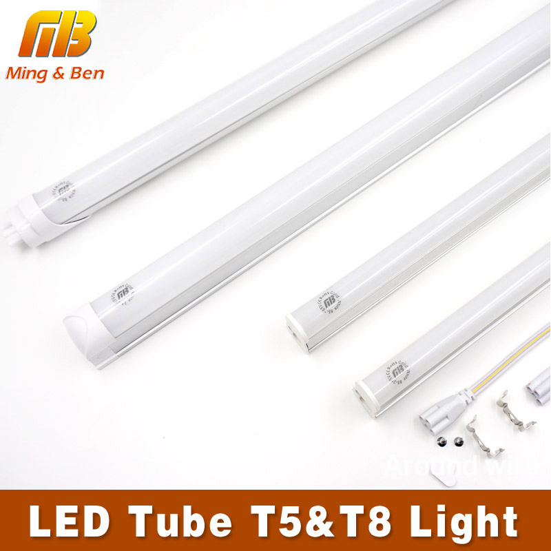 [MingBen] 2pcs LED Tube T5 T8 Light AC185V-265V 30cm 60cm 5W 10W LED Fluorescent Tube Wall Lamps Cold Warm White T5 Bulb Light(China)
