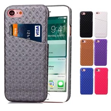 Leather Case for Iphone 7 Cover Luxury Smart Card Money Rhombus Grid Royal Bump Golden Business Men Lady Upscale Grey Violet