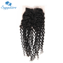 Sapphire Brazilian Kinky Curly Virgin Human Hair 4*4 Lace Frontal With Baby Hair Free Part 1B# Color For Hair Salon Top Selling(China)