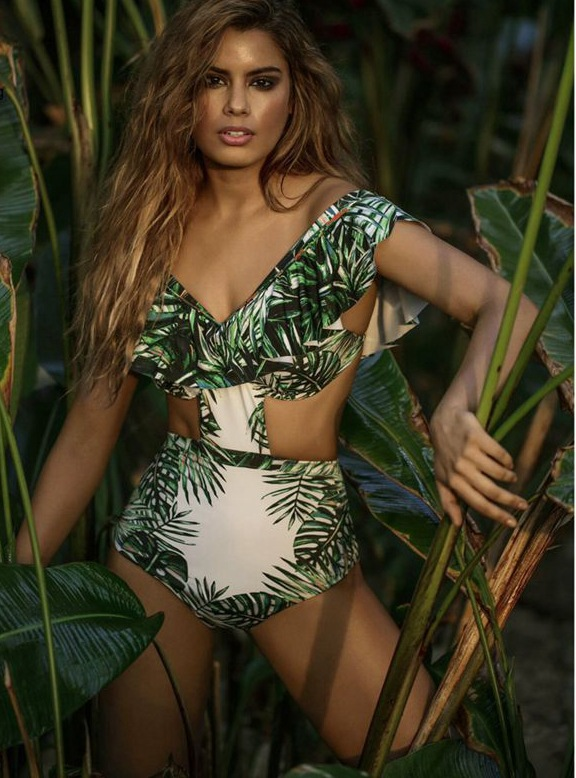 Print Green Bamboo Leaves Bikini Vintage High Waist Swimwear Sexy Push Up Swimsuit Ruffles Bathing Suit Biquini Mulher CN133<br>