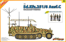 1/35 scale model Dragon 9150 Sd.Kfz.251 / 6C semi-track armored vehicle command and the German Army officer group