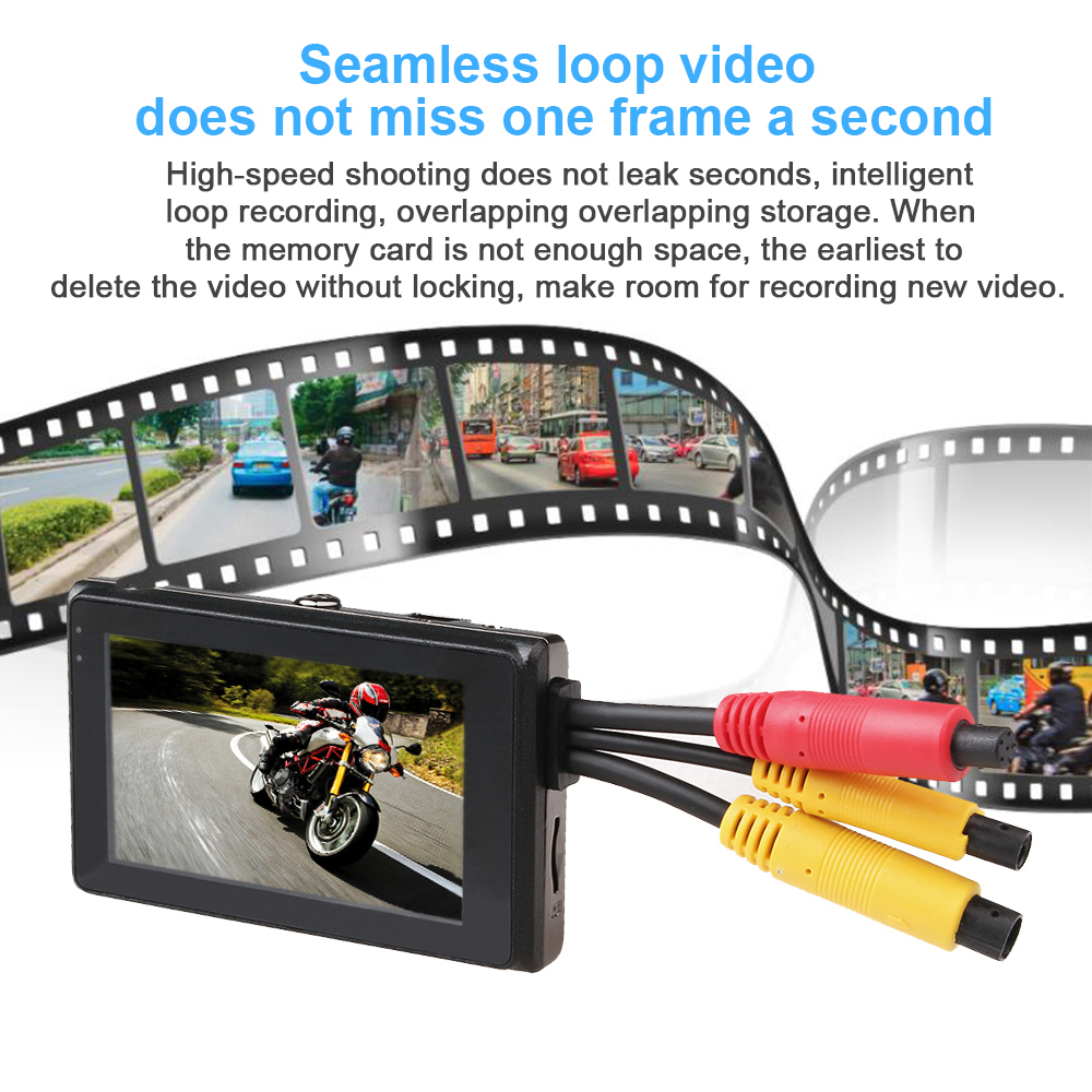17 latest 1080P motorcycle DVR motorbike video recorder front and rear view dual camera dash cam G-sensor optional gps tracker 6