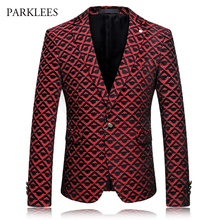 Brand Red Blazer Men Diamond Plaid Design Suit Jacket 2017 Slim Fit Single Breasted Mens Blazers Casual Party Blazer Hombre 4XL