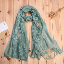 2017 Charming Spring Eugen Silk Embroidery Floral Scarves Women Winter Shawls Lace Wrap Poncho For Euro(China)