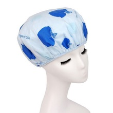 Elegart Girl Women Waterproof Fibre Shower Caps Elastic Hat Hair Bath Double Shower Spa Cap With Free Gifts 2 Hair Hands(China)