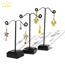 Black/Clear Acrylic Metal Jewelry Display Stand For Tassel Dangle Earrings Rack Stud Bracelet Displays Holder Exhibitor 3pcs/set