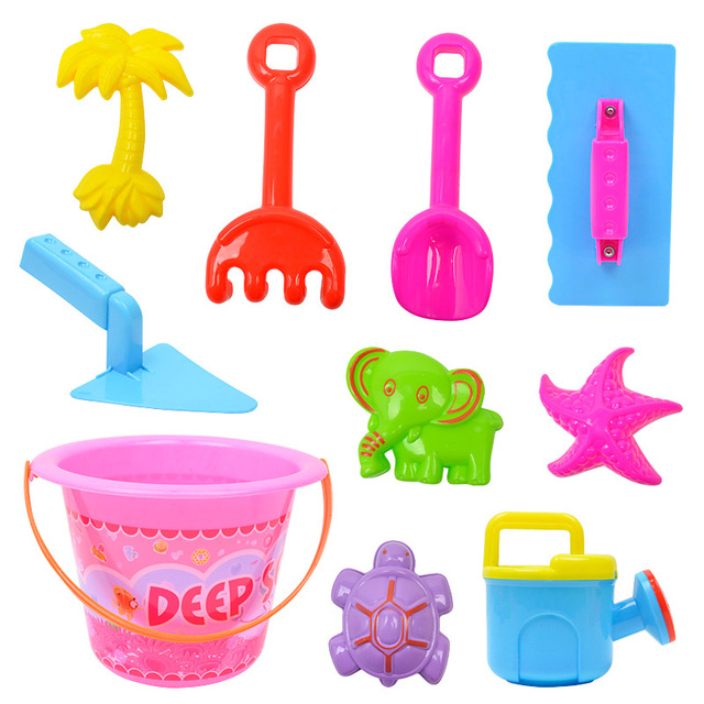 Plastic beach toys set 10 piece play water play sand tools beach buckets toys for children