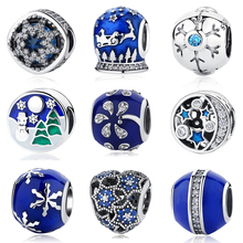 100% Authentic 925 Sterling Silver Bead Charm Snowflake Blue Enamel Crtstal Charms Fit Pandora Bracelet & Bangle DIY Jewelry(China)