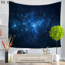 YO CHO Sky Moon Wall Hanging Tapestry For Bedroom Living Room Dorm Accessories Bohemian Decor Rug Galaxy Wall Tapestry Blanket(China)
