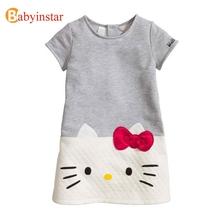 Babyinstar Soft Kids Dresses for Girls 2017 New Cute Cartoon Hello Kitty Dress Summer Style Children's Birthsay Princess Dress(China)