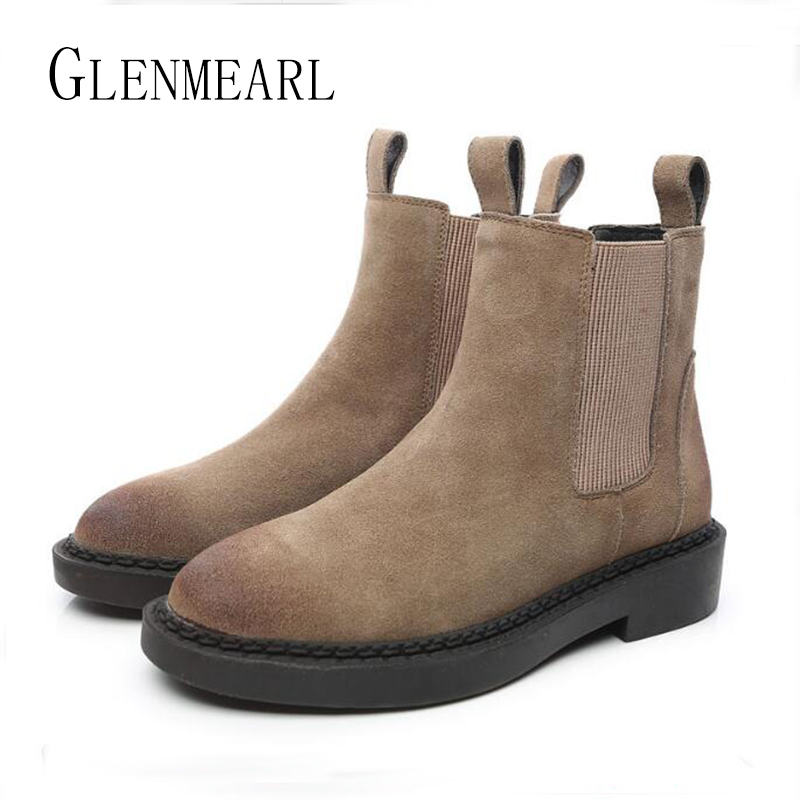 Genuine Leather Women Chelsea Boots Brand Winter Warm Short Ankle Boots Plus Size Platform Single Flats Martin Shoes Woman 30<br>