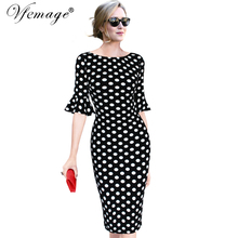 Vfemage Women Elegant Flare Trumpet Bell Sleeve Polka Dot Print Vintage Pinup Casual Work Office Party Bodycon Sheath Dress 7692(China)