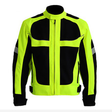 Men's Summer Motorcycle Jacket Off Road Auto Racing Motocross Protective Gear Reflective Safety Clothing - Fluorescent green