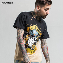 Aolamegs T shirt Men Guns N Roses Printed Black Heavy Metal Rock T Shirts Spring Summer New Fashion Streetwear Short-sleeve Tee