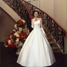 2017 Brand New Wedding Dresses with Bow White/Ivory Satin Strapless Princess Ball Gown Formal Dress Stock/Custom Bridal Gown