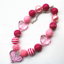 2pcsGirls Pink heart Chunky Necklace, Valentines Chunky Necklace ,girl Valentines kids chunky necklaceCB581(China)