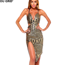 Silver&Golden Sequined Wave Sexy Party  Dress Womans Halter V-neck Spaghetti Strap Geometric pattern Asymmetrical Club Vestidos
