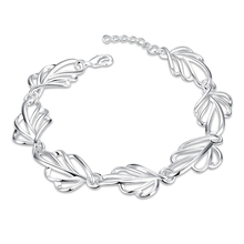 JEXXI Elegant OL Jewelry Shiny Smooth 925 Sterling Silver Leaf Design Woman Bracelets Wedding Engagement Party Bangle Jewelry