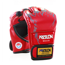 2017 New Grappling MMA PU Boxing Punching Gloves special thick cotton fabrics Sanda Fighting UFC Half Finger Gloves 5 colors(China)