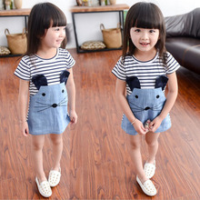 New 2017 Kids' summer Cotton Striped Patchwork Character Girls' Short sleeve Dresses Cute Denim Mouse Children's Clothing(China)
