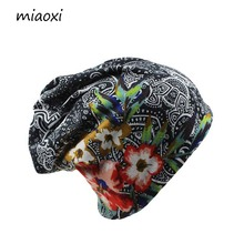 miaoxi New Women Hat Polyester Adult Casual Floral Women's Hats Spring Autumn Two Used Female Cap Scarf 3 Colors Fashion Beanies(China)