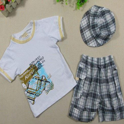 2017 Hot Baby Boys Infants Suit T-shirt +Plaid Shorts Pants+Hat Clothes Outfits 3pcs<br><br>Aliexpress