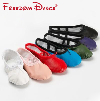2017 Childrens Genuine Leather Ballet Dance Shoes Split Soles Dancing Slippers Girls Yoga Shoes Gym Fitness Shoes Kids 6Colors<br>