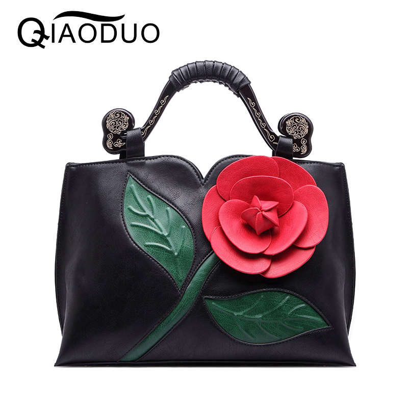QIAODUO Bags Handbags Women Famous Brands Classical Roses Flower Handbag Chinese National Wind Crossbody Bags For Women bolsas<br>