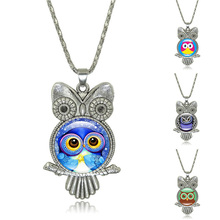 Vintage Owl Necklaces & Pendants Glass Round Dome Pendant Silver Owl Accessories Chain Necklace for Women Jewelry