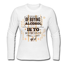 3D Print Buying Alcohol 100% Cotton Women T-shirt Girl Cute Tops Long Sleeve Tees Autumn Winter Tshirt(China)
